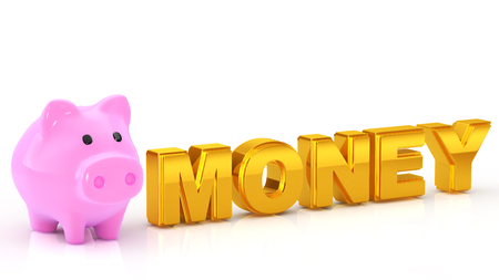 """indefinitely: Character of the piggy bank and golden  """"MONEY """""""