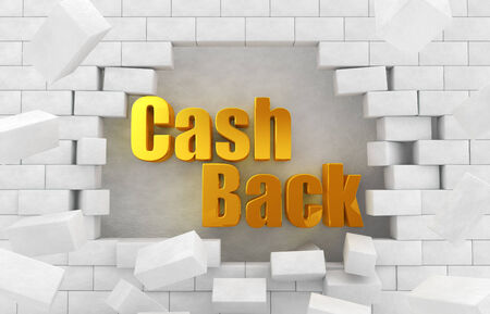 "cash back: The character of golden  ""CashBack "" in the collapsed wall"