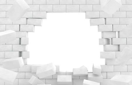 Afbrokkelende muur van bakstenen Stockfoto