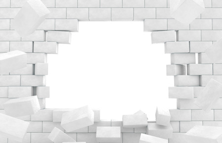 with holes: Wall of crumbling bricks Stock Photo