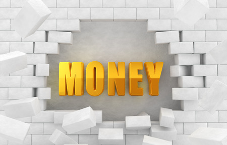 """collapsed: The character of golden  """"MONEY """" in the collapsed wall"""