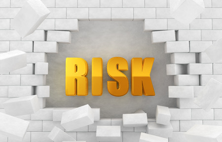 "collapsed: The character of golden  ""RISK "" in the collapsed wall"