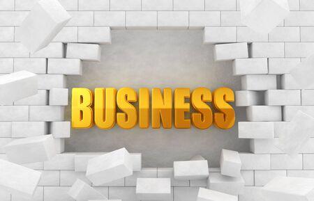 崩れた壁の黄金の「ビジネス」の文字 写真素材
