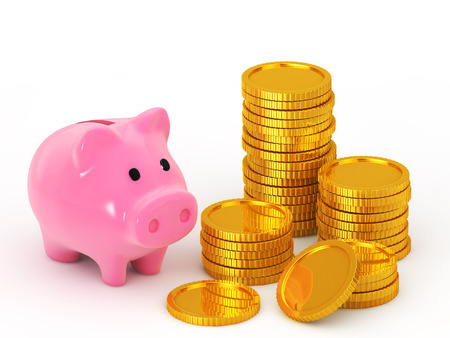rn3d: Piggy bank and is stacked coins