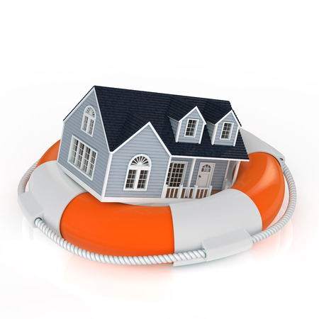 foreclosure: Insurance concept. The house on top of the life ring Stock Photo