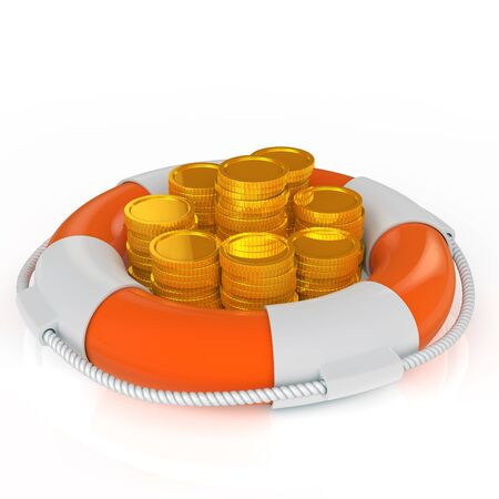 Insurance concept. The coin on top of the life ring Banco de Imagens