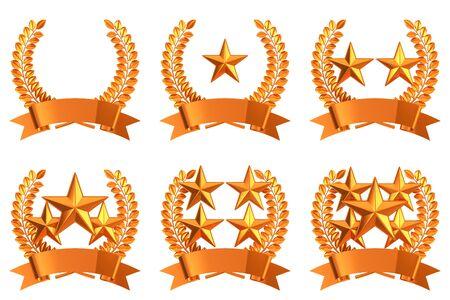 copper: Copper star emblem set Stock Photo