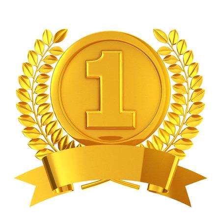 nombre d or: Emblème de la médaille d'or Banque d'images
