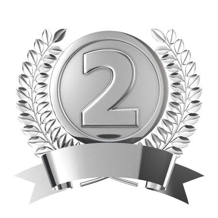 silver medal: Silver medal emblem Stock Photo