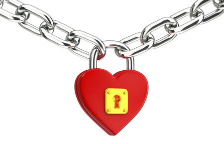 old padlock: Love concept. Heart padlock
