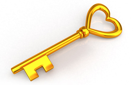 Gold heart key