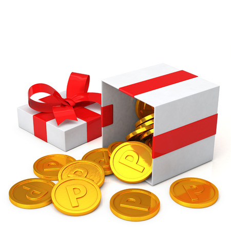 loyalty program concept. Gift box and points coin