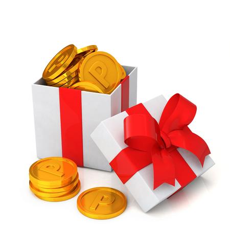 fedeltà concetto di programma. Confezione regalo e punti di monete