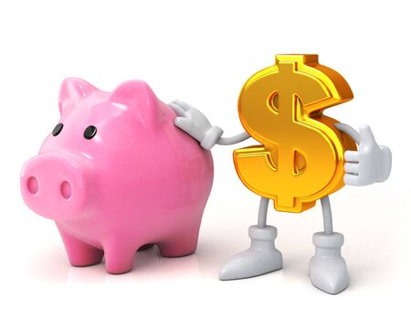 Finance concept. Piggy bank and the dollar