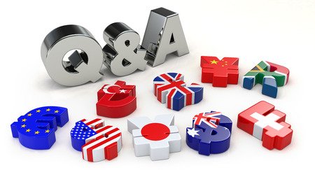 Silver Q & A and the currency symbol Stock Photo