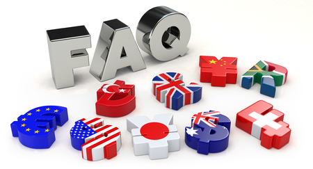 currencies: Silver FAQ and currency symbol Stock Photo