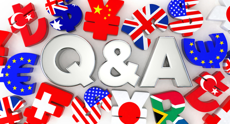 currency symbol: Silver Q & A and the currency symbol Stock Photo