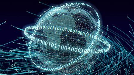 Digital world map  Network concept