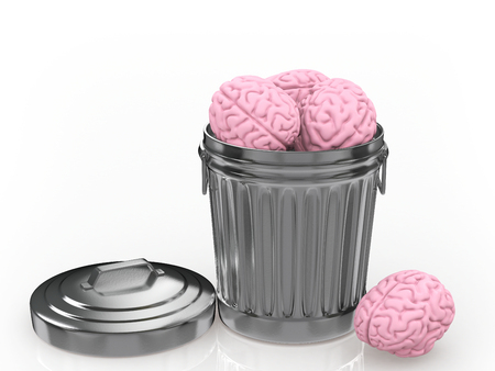 The brain discarded in the trash can. 3D illustration Stock Photo