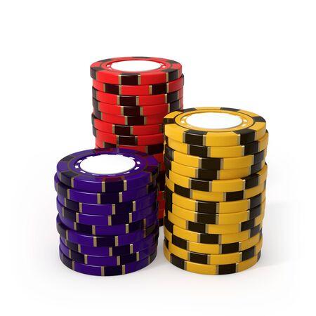 カジノのチップ、白い背景で隔離 写真素材