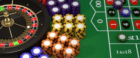 Image of casino roulette. 3D illustration Banco de Imagens - 87149985