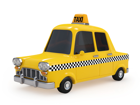 Cute Vintage Yellow Taxi on white background