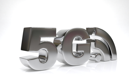 5 G symbol on white bhkground.5th generation network concept. 3D rendering Banco de Imagens
