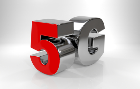 5 G symbol on white bhkground.5th generation network concept. 3D rendering Imagens