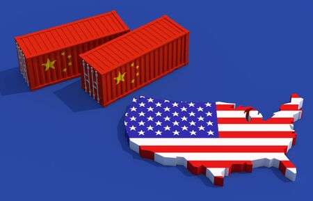 Trade friction between America and China concept. Imagens