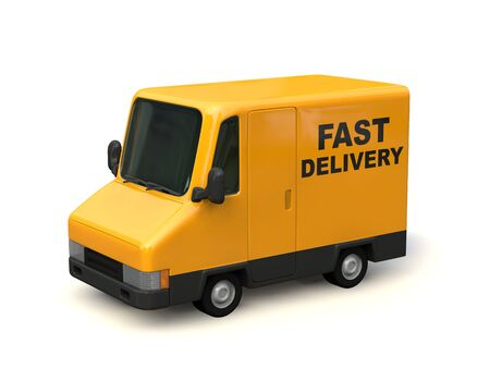 Yellow Delivery Car Seen from the Side. FAST DELIVERY characters painted on the car body. 3D render. Stok Fotoğraf