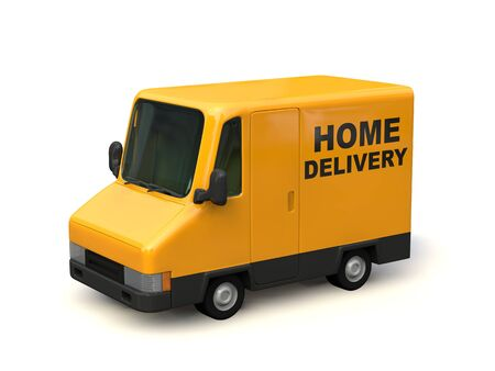 Yellow Delivery Car Seen from the Side. HOME DELIVERY characters painted on the car body. 3D render. Stok Fotoğraf