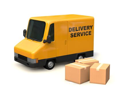 Yellow Delivery Car Seen from the Side. DELIVERY SERVICE characters painted on the car body. 3D render.