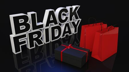 Three-dimensional BLACK FRIDAY characters and products on a dark background. Black Friday Sale Concept. 3D render