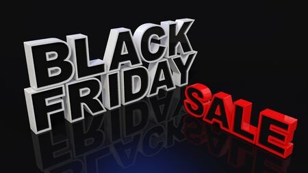 Three-dimensional BLACK FRIDAY and SALE characters on a dark background. Black Friday Sale Concept. 3D render