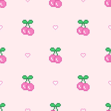 Sweet pixel cherry with hears icon seamless vector pattern. 8 bit design texture in retro style. Background for social media, branding, paper, web design and more. Trendy girlish fabric.