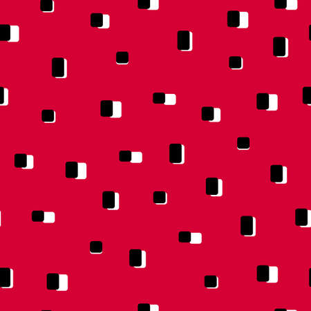 Vector simple 80s style sushi seamless pattern on red background. Neatly arranged Japanese sushi vintage texture for fabric, paper, branding and design. Nori seaweed and rice cute retro ornament