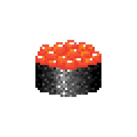 Pixel art gunkan maki sushi icon. Delicious tasty vector gunkan sushi with red caviar. Big red caviar berry eggs in nori seaweed. Mosaic Japanese food symbol. Pixel illustration of japanese cuisine.