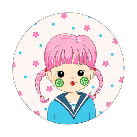 Cute Girl Doing Cucumber Mask Portrait. Cartoon Girl with Pink Pigtails and Cucumber Mask on a Background of Sakura Flowers. Young Woman Doing Skin Care Mask. Cute Female Portrait on Cherry Blossom.