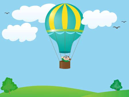 man flying in a balloon Stock Vector - 7556108
