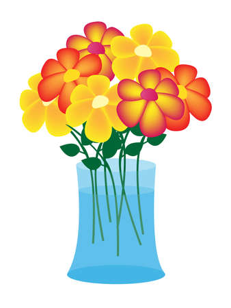 glass vase: illustration flowers in vase