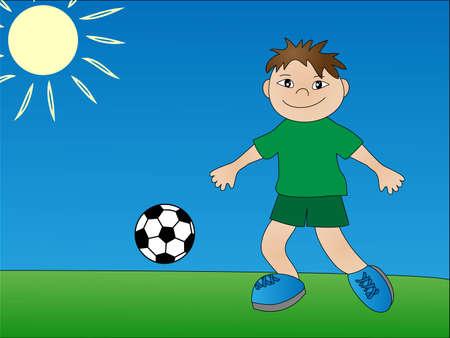 children playing soccer. illustration Vector