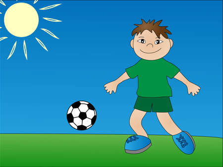 children playing soccer. illustration Illustration