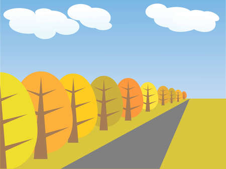autumn trees and the road stretches to the horizon Stock Vector - 7988521