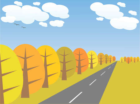 autumn trees and the road stretches to the horizon Illustration