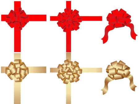 休日の弓と白い背景の上のリボン
