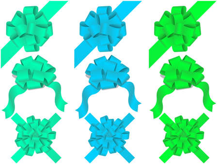holiday bows and ribbon on white background