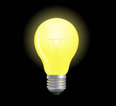 Bombilla de luz brillante y resplandeciente  Vectores