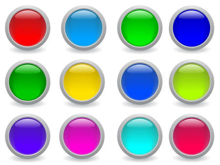 glossy button icon set in 12 colors