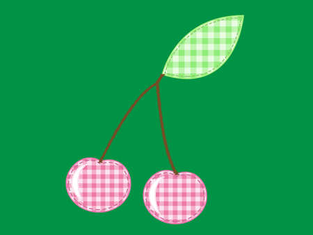 applique cherry  of checkered fabric