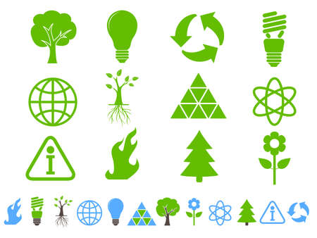 Conjunto de iconos de Ecolog�a y conservaci�n de tierra